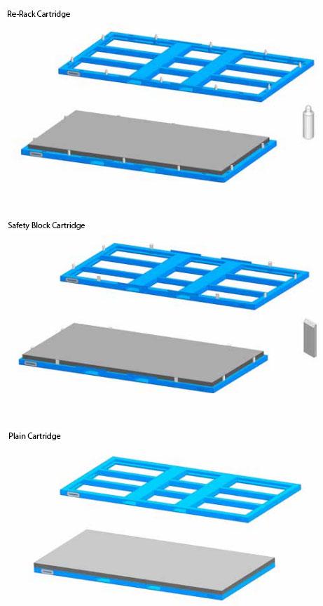 Different Metal Rack Storage System Cartridges